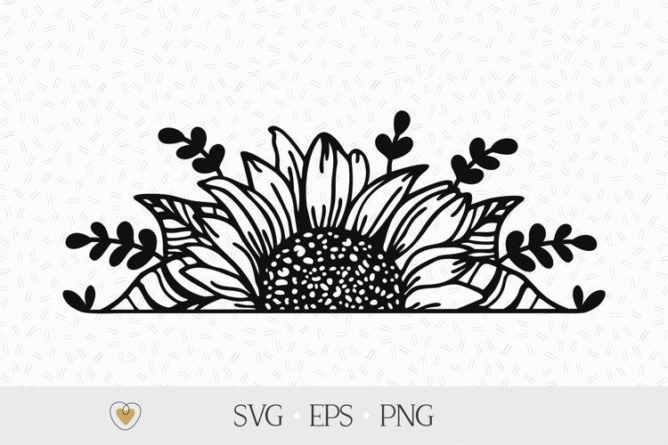 Half sunflower svg, Sunflower border svg, Split sunflower example image 1