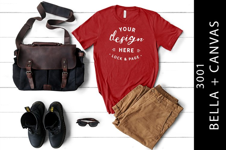Masculine Canvas Red Bella Canvas 3001 T-Shirt Mockup example image 1