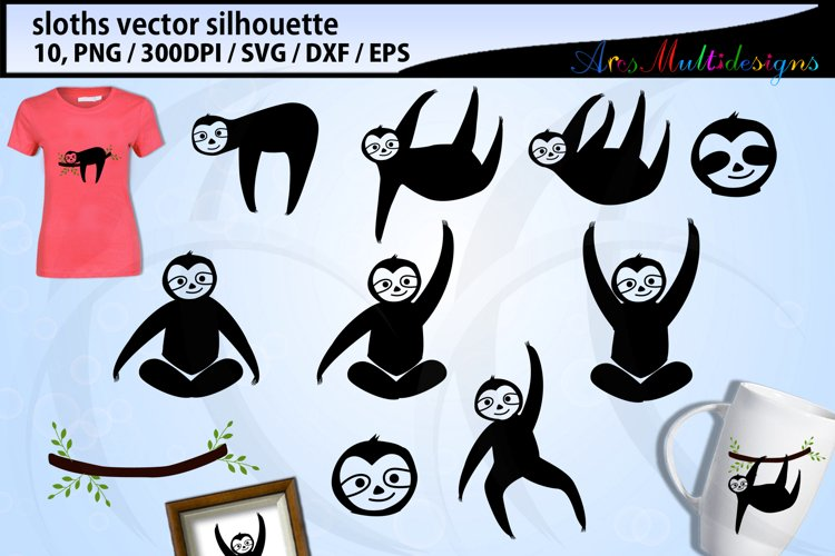 Sloth svg silhouette / hanging sloth silhouette / vector example image 1