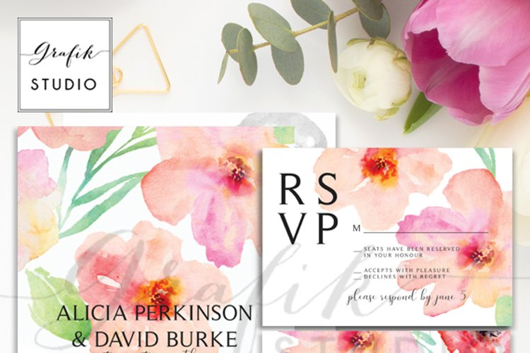 Blushing Floral Wedding Invitation Template example image 1