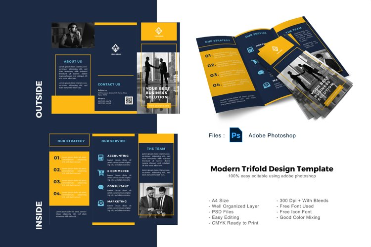 Blue business trifold photoshop template