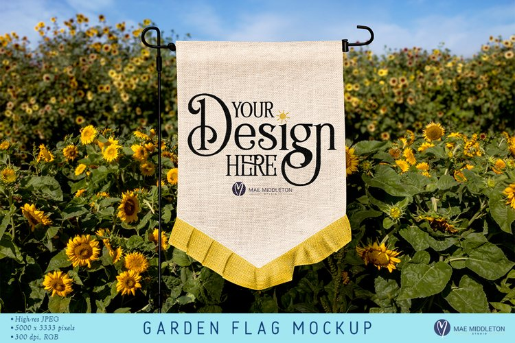 Garden Flag in Sunflower Field | Mock up, Styled Photo