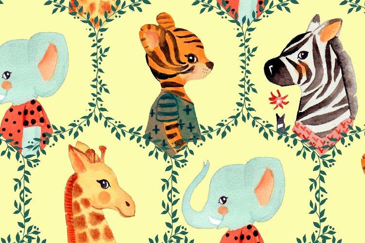 SAFARI watercolor seamless pattern