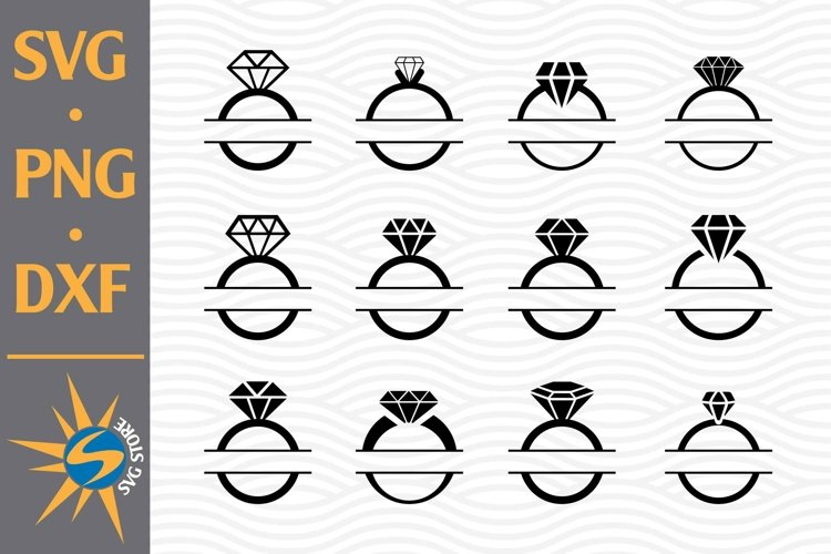 Split Ring Wedding SVG, PNG, DXF Digital Files Include example image 1