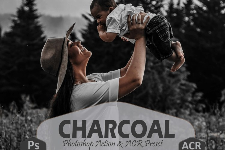10 Charcoal Photoshop Actions And ACR Presets, black & white