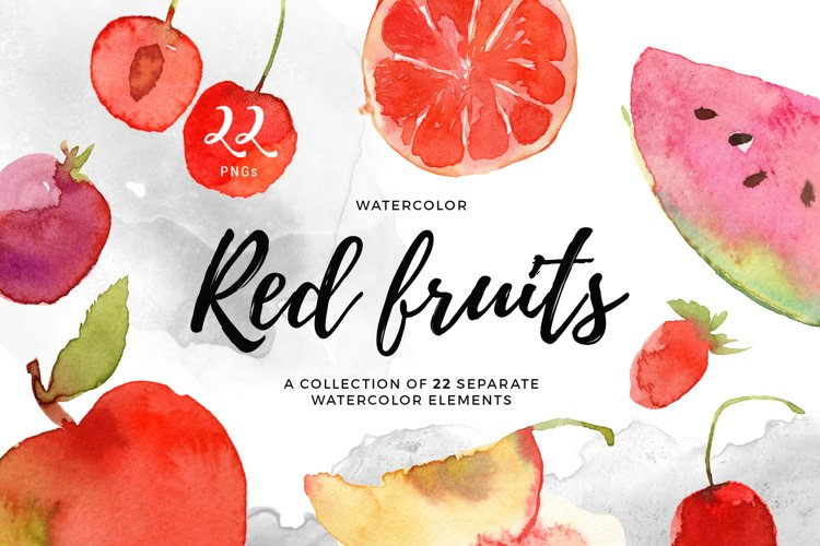 Hand Drawn Watercolor Red Fruits