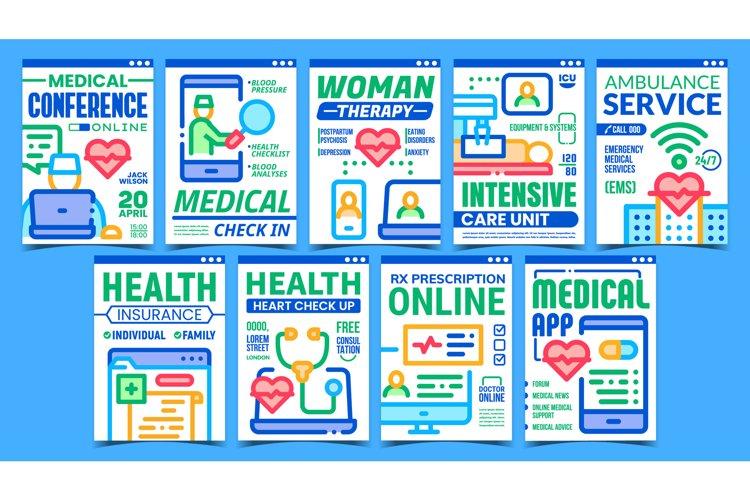 Telemedicine Creative Promotion Posters Set Vector