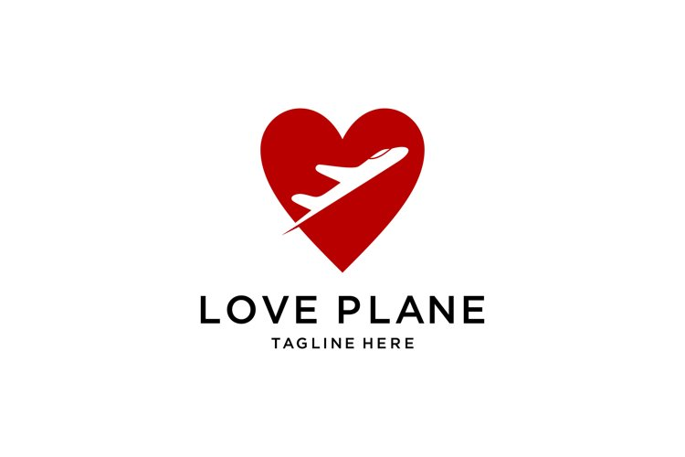heart shape with airplane logo example image 1