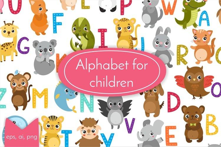 Alphabet letters, baby animals, Kids alphabet. Baby animal