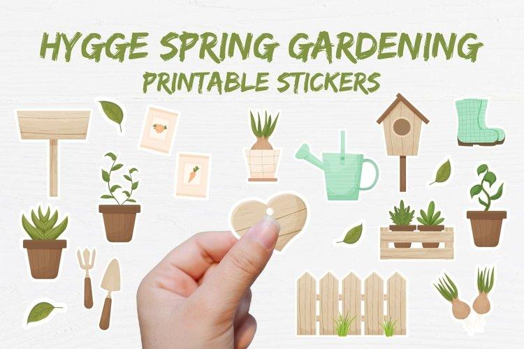 Hygge Spring Gardening Printable Sticker collection PNG, PDF
