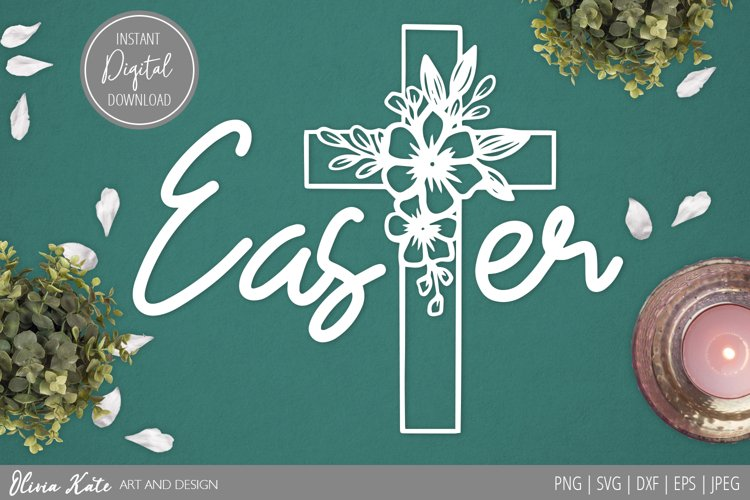 SVG / PNG / DXF / JPEG / EPS Easter Cross Design, Papercut