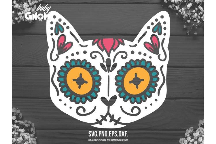Cat Sugar Skull svg, Sugar Skull svg, Animal Sugar Skull cut example image 1