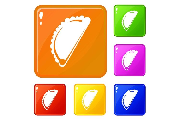 Cheburek icons set vector color example image 1