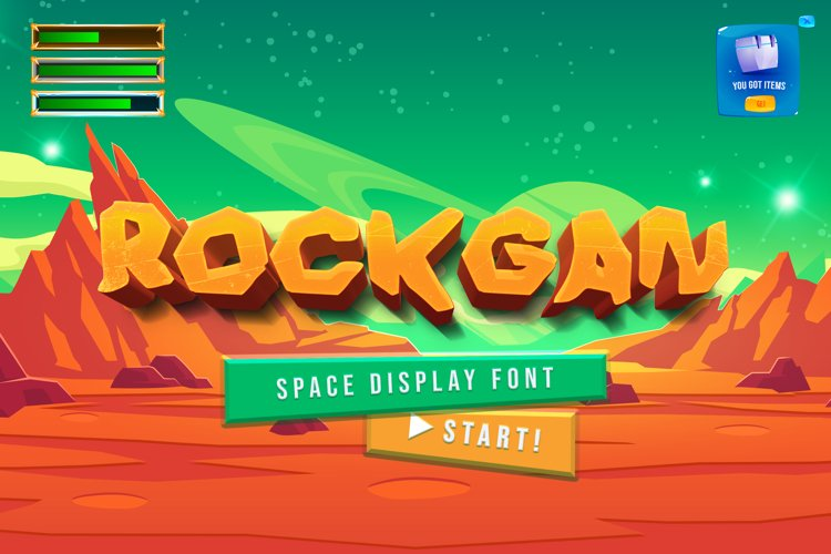 Rockgan Space Display Font example image 1