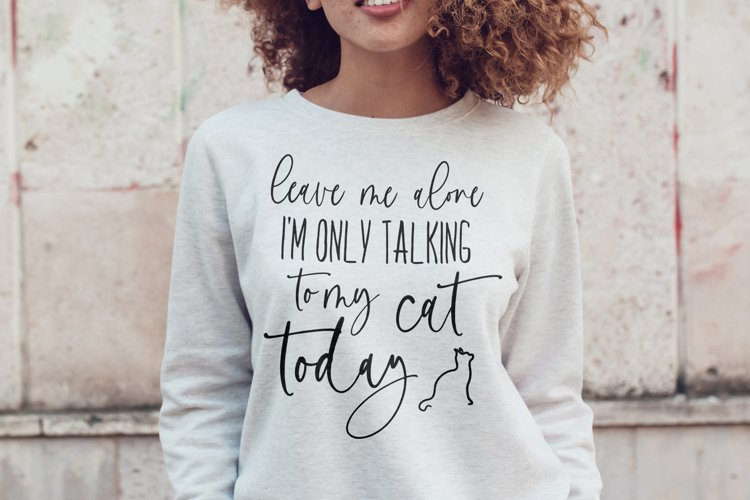 Leave Me Alone I'm Only Talking To My Cat Today svg example image 1