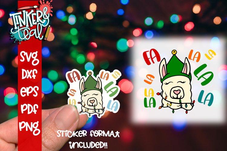 Christmas Llama Sticker SVG - Christmas Sticker - Llama example image 1