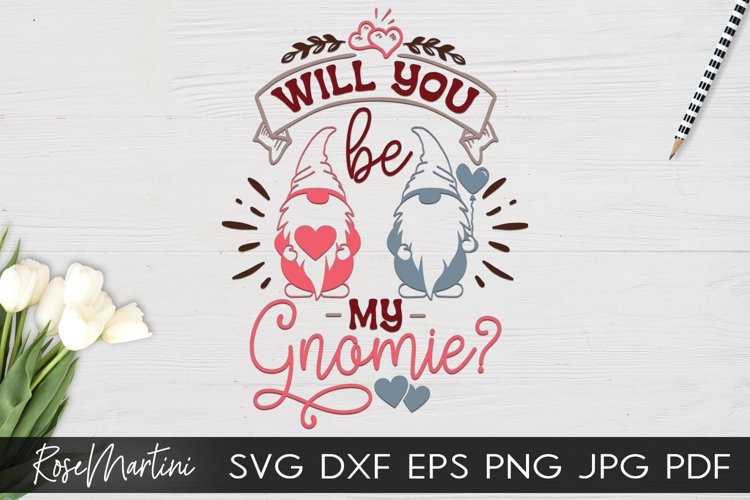 Will You Be My Gnomie SVG Valentines Day Gnomes example image 1