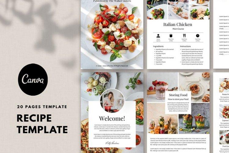 Recipe template, Recipe Ebook, Food, Cookbook template canva example image 1