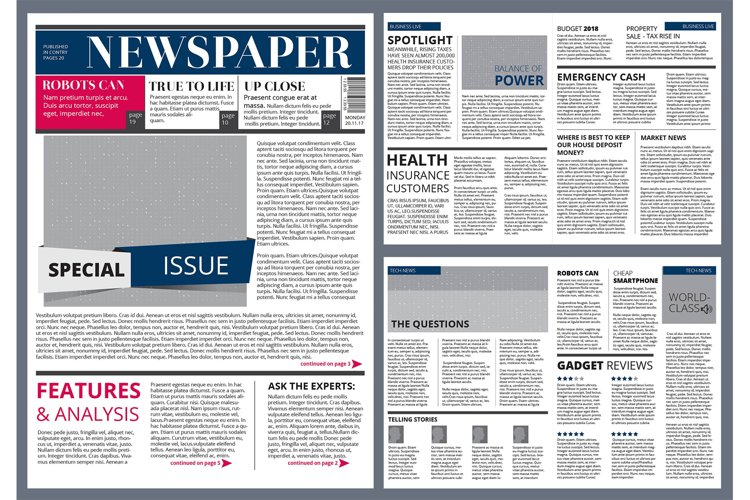 Vector design template of newspaper example image 1