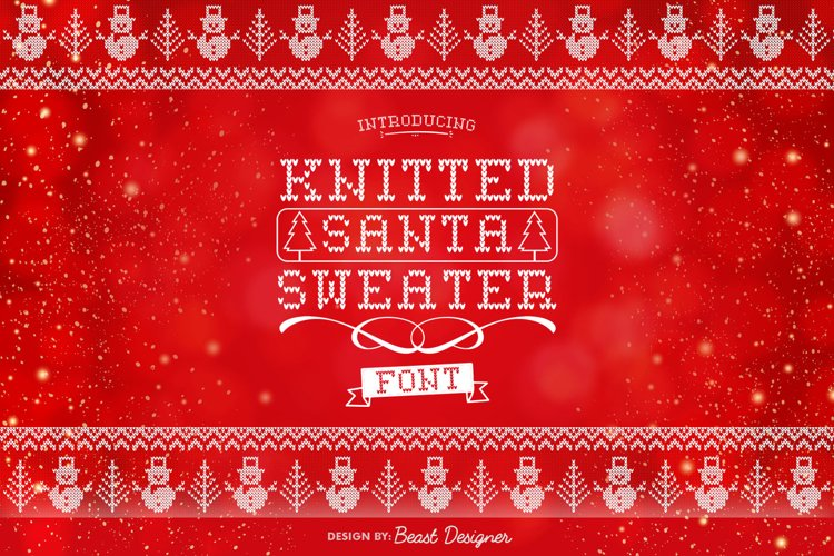 Knitted Santa Sweater Font | Christmas Ugly Sweater