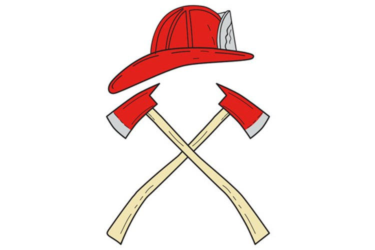 Fireman Helmet Crossed Fire Axe Drawing example image 1