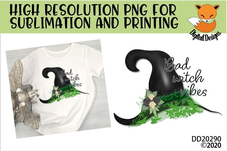 Bad Witch Vibes Sublimation Design for t-shirts example image 1