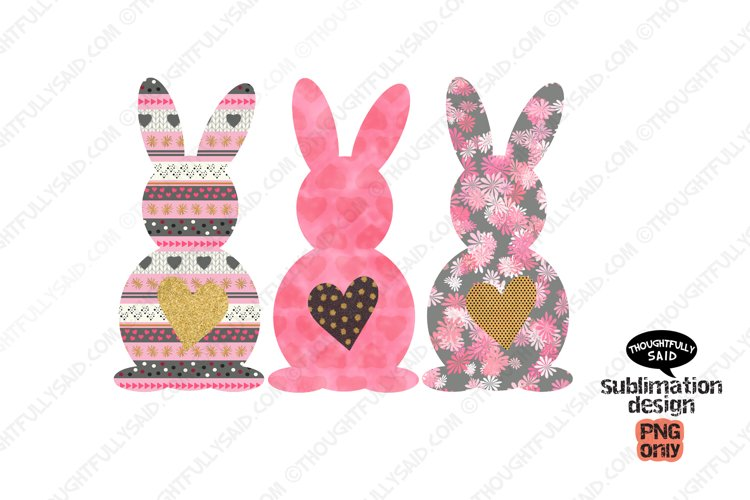Pink Easter Bunnies PNG For Sublimation example image 1