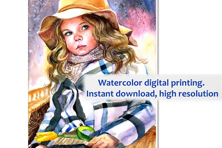 Art Baby Funny, Print with a cute baby, Watercolor Printable example image 1