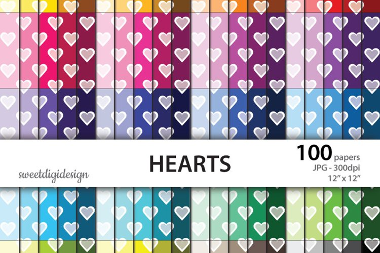 Hearts digital paper, heart color backgrounds example image 1