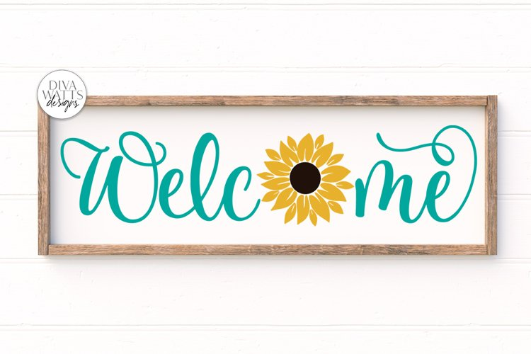 Welcome With Sunflower SVG   Farmhouse Sign   DXF and More example image 1