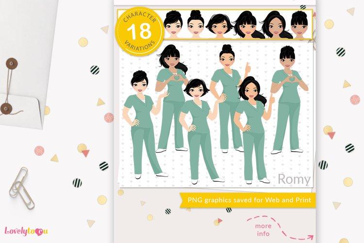 Asian nurse clipart, healthcare worker avatar, LVX13 Romy