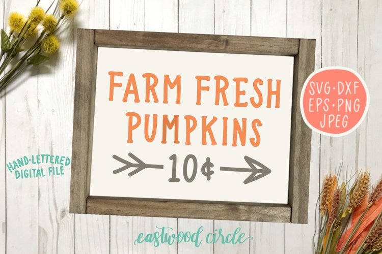 Farm Fresh Pumpkins Hand Lettered SVG example image 1