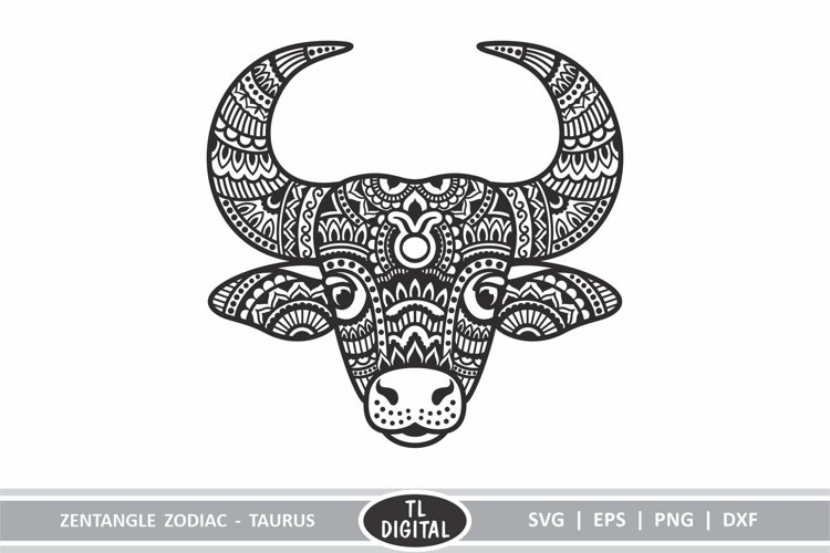 Zodiac Zentangle - Taurus / Bull - SVG | EPS | PNG | DXF example image 1