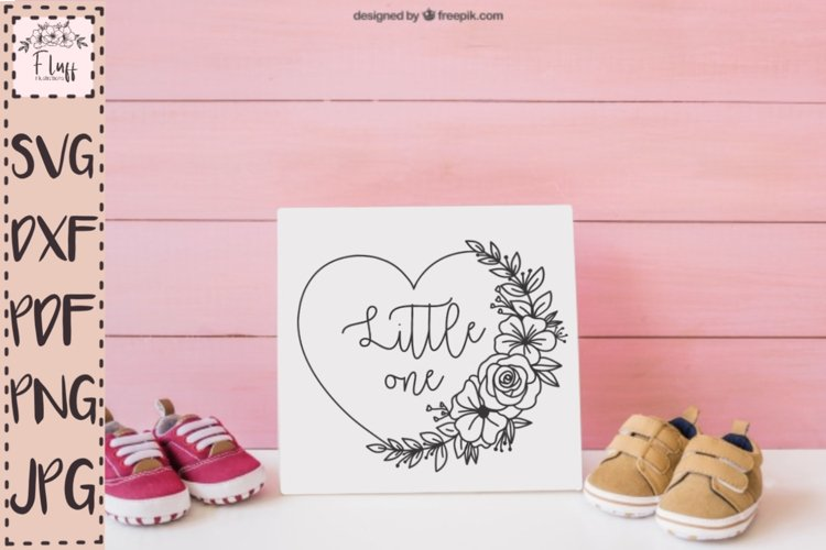 Little one, heart floral wreath SVG, baby shower decoration
