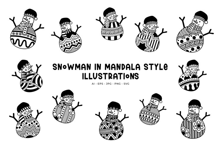 Snowman In Mandala Styles illustrations example image 1
