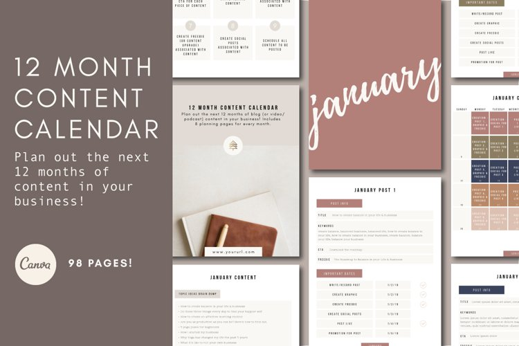12-Month Content Calendar | Content Planner | Canva Template example image 1