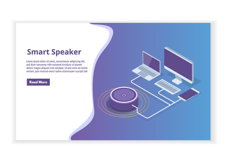 Smart assistant Speaker, Voice control isometric concept. example image 1