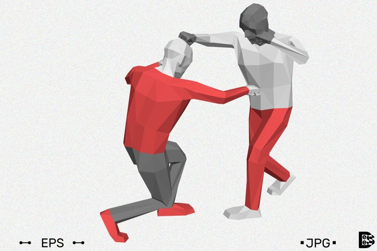 Low poly men fighting. 3d vector illustration. example image 1