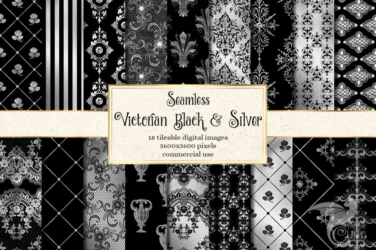 Victorian Black and Silver Digital Paper example image 1