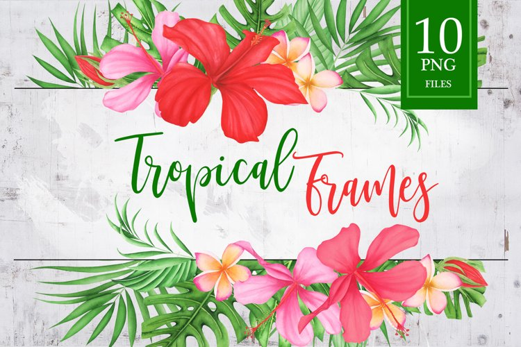 Watercolor Tropical Flowers and Leaves Frames