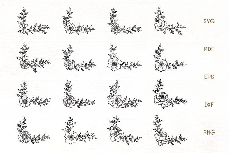 Flowers SVG Set of 16 - Floral Corner Border Elements example image 1