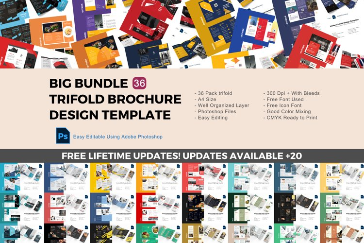 Update! Bundle 36 trifold brochure design templates