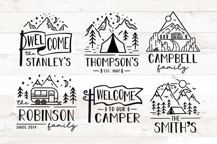 Camping RV Camper Last Name Family Sign Bundle svg