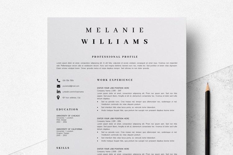 Resume Template Minimalist | CV Template Word - Melanie example image 1