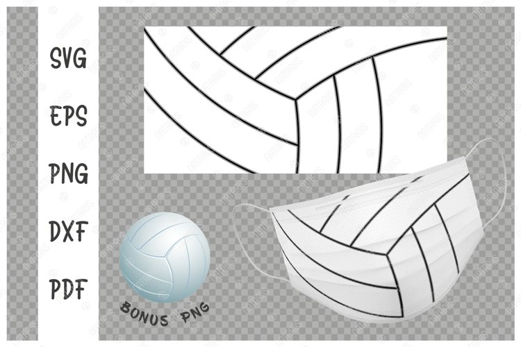 SVG Volleyball ball background design for face mask. example image 1