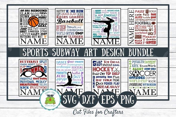 Sports Subway Art Design Bundle SVG Cut Files,PNG Printables