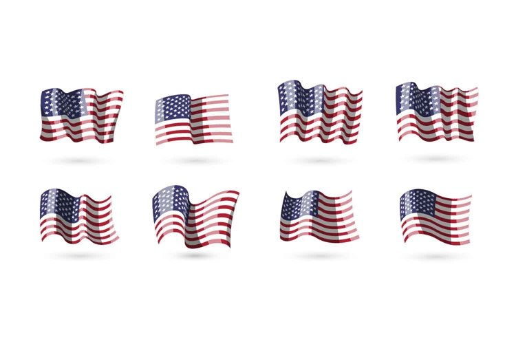 Collection of vector waving american flags for your design example image 1