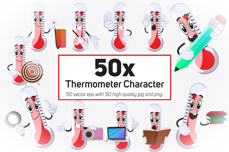 50x Thermometer Character or Mascot collection illustration.
