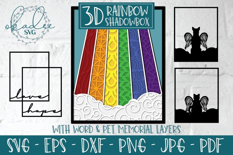 3D Rainbow Shadowbox SVG, Layered Memorial SVG, Zentangle