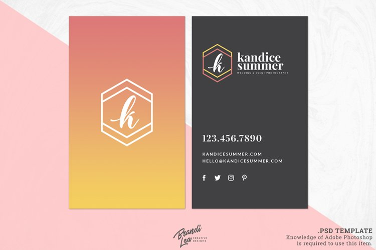 Pink Yellow Ombre Business Card Template